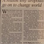 Letters to Editor : A reason why dropouts go on to change world, By Dr P.K. Rajesh